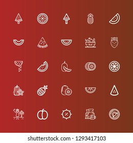 Editable 25 watermelon icons for web and mobile. Set of watermelon included icons line Breakfast, Summer, Plum, Watermelon, Kiwi, Pineapple, Carambola, Mangosteen, Melon on red