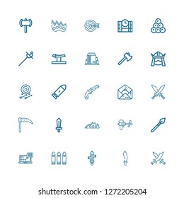 Editable 25 weapon icons for web and mobile. Set of weapon included icons line Swords, Sabre, Sword, Bullets, Tracking, Spear, Water gun, Knuckle, Scythe, Bomb on white background