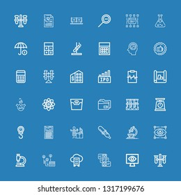 Editable 36 analysis icons for web and mobile. Set of analysis included icons line Test tubes, Monitoring, Data, Cloud data, Heart rate, Microscope, Visual on blue background
