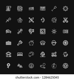 Editable 36 art icons for web and mobile. Set of art included icons line Basketball, Apple, Pinball, Graphic design, Zongzi, Flower, Unicorn, Box, Tree, Color palette on black background