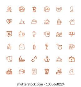 Editable 36 break icons for web and mobile. Set of break included icons line Smoke, Coffee, Coffee maker, Break, Earthquake, Tea, Broken link, Mug, Cup, Slavery on white background