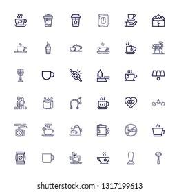 Editable 36 break icons for web and mobile. Set of break included icons line Espresso, Coffee, Tea, Mug, Smoking, Coffee cup, Broken bone, Broken heart, Brake on white background