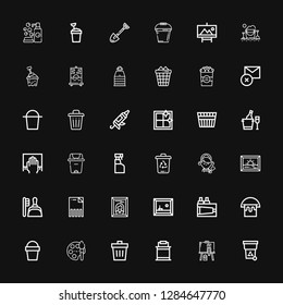 Editable 36 bucket icons for web and mobile. Set of bucket included icons line Trash, Painting, Paint bucket, Paint, Sand bucket, Delete, Dustpan, Maid on black background