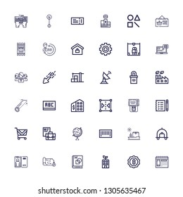 Editable 36 business icons for web and mobile. Set of business included icons line Calendar, Bitcoin, Building, Art book, Map, Focus, Luggage, Ship, Barcode on white background