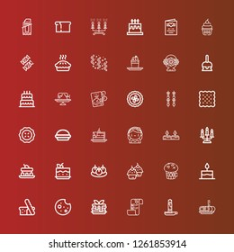 Editable 36 cake icons for web and mobile. Set of cake included icons line Roll cake, Candle, Wedding plans, Pancake, Cookie, Bread, Cake, Muffin, Cupcake, Bitterballen on red