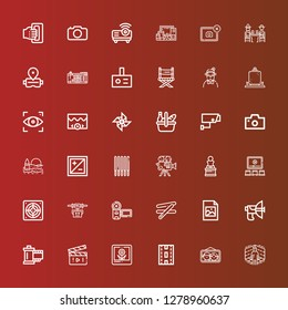 Editable 36 camera icons for web and mobile. Set of camera included icons line Virtual reality, Picture, Strip, Movie, Reel, Parabolic, Jpeg, Stick, Camera, Drone, Extractor on red