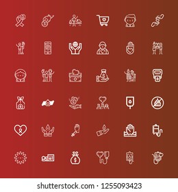 Editable 36 charity icons for web and mobile. Set of charity included icons line Blood transfusion, Blood donation, Money bag, Homeless, Platelet, Help, Cancer, Ngo, Donors on red