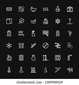 Editable 36 chemistry icons for web and mobile. Set of chemistry included icons line Scientist, Eyedropper, Medicine, Flask, Transgenics, Test tube, Cloning on black background