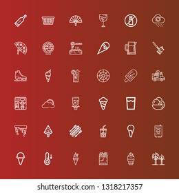 Editable 36 cold icons for web and mobile. Set of cold included icons line Wind, Ice cream, Ice bucket, Temperature, Drink, Ice coffee, Skii, Popsicle, Thaw, Dispenser on red