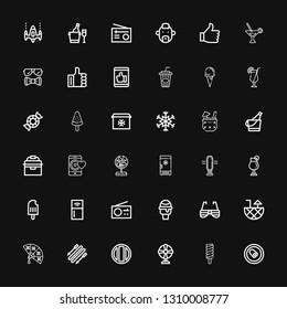Editable 36 cool icons for web and mobile. Set of cool included icons line Can, Popsicle, Fan, Soda, Skii, Cocktail, Sunglasses, Icecream, Radio, Refrigerator on black background