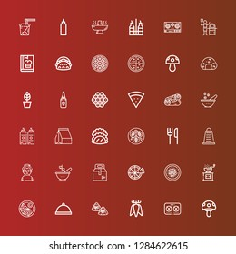 Editable 36 cuisine icons for web and mobile. Set of cuisine included icons line Mushroom, Stove, Tuber, Zongzi, Dinner, Jiaozi, Pepper, Chinese food, Pizza, Take away on red