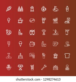 Editable 36 cup icons for web and mobile. Set of cup included icons line Trophy, Cake, Vuvuzela, Lemonade, Noodle, Toast, Coffee, Awards, Certificate, Podium, Success, Mug on red