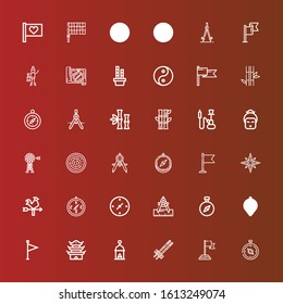 Editable 36 east icons for web and mobile. Set of east included icons line Compass, Flag, Chopsticks, Lantern, Pagoda, Cardinal points, Vane, Windrose, Hummus, Geisha, Hookah on red
