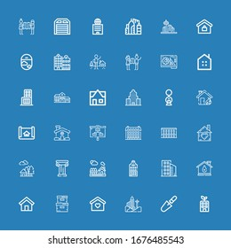 Editable 36 estate icons for web and mobile. Set of estate included icons line Building, Scraper, Home, Storage box, House, Buildings, Architecture, Planning on blue background