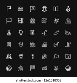 Editable 36 europe icons for web and mobile. Set of europe included icons line Global, World, GDPR, Flag, Atomium, Globe, Map, Big ben, Troglodyte, Pacifism on black background