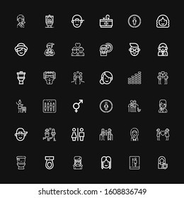 Editable 36 gender icons for web and mobile. Set of gender included icons line Woman, Toilet, Girl, Wc, Couple, Restrooms, Boy, Restroom, Genders, Equalizer on black background