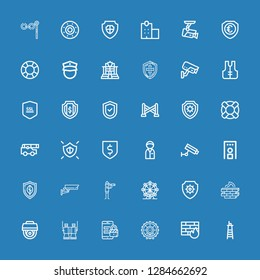 Editable 36 guard icons for web and mobile. Set of guard included icons line Lifeguard, Firewall, London eye, Security, Binoculars, Cctv, Antivirus, Vigilance on blue background