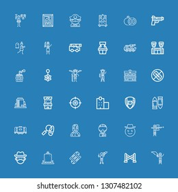 Editable 36 gun icons for web and mobile. Set of gun included icons line Paintball, Police line, Pirate, Nunchaku, Detective, Cowboy, Military, Zombie, Tank on blue background