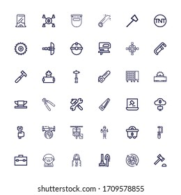 Editable 36 hammer icons for web and mobile. Set of hammer included icons line Auction hammer, Setup, Tools, Judge, Worker, Toolbox, Saw, Mining, Maintenance on white background