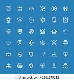 Editable 36 heraldic icons for web and mobile. Set of heraldic included icons line Crown, Shield, Iberia, Police badge, Lance, Eagle, Raven, Queen on blue background