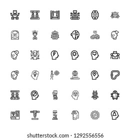 Editable 36 intelligence icons for web and mobile. Set of intelligence included icons line Mind, Cap, Imagination, Robotics, Robot arm, Robot, Mechanical arm on white background
