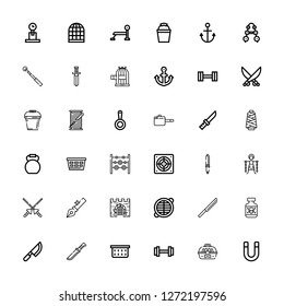 Editable 36 iron icons for web and mobile. Set of iron included icons line Magnet, Cage, Weight, Laundry basket, Knife, Posion, Grate, Gate, Anchor, Spears on white background