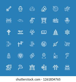 Editable 36 japanese icons for web and mobile. Set of japanese included icons line Dojo, Kusarigama, Bamboo, Samurai, Dragon, Martial arts, Sake, Sumo, Nunchaku on blue background