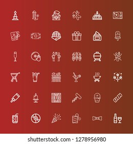 Editable 36 party icons for web and mobile. Set of party included icons line Wine, Bow, Petard, Confetti, Vinyl, Soda, Marshmallow, Ice cream, Corkscrew, Stage, Candle on red
