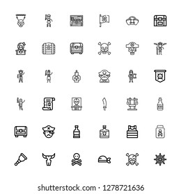 Editable 36 pirate icons for web and mobile. Set of pirate included icons line Ship wheel, Skull, Pirate, Wooden leg, Poison, Sailor, Rum, Chest, Sabre, Papyrus on white background