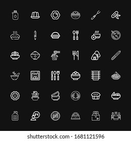 Editable 36 plate icons for web and mobile. Set of plate included icons line Romantic dinner, Take away, Plate, Junk food, Room service, Canteen, Salad, Pie on black background