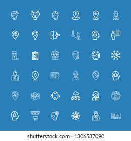 Editable 36 profile icons for web and mobile. Set of profile included icons line Profile, Avatar, Networking, Mind, Network, Transhumanism, Woman, Man, Placeholder on blue background