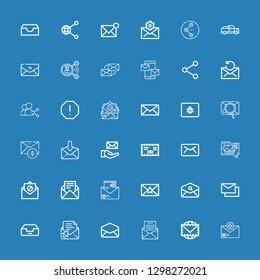 Editable 36 receive icons for web and mobile. Set of receive included icons line Email, Envelope, Mail, Inbox, Mails, Mms, Spam, Share, Pick up on blue background