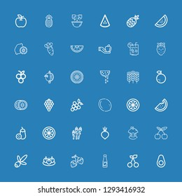 Editable 36 ripe icons for web and mobile. Set of ripe included icons line Avocado, Cherry, Juice, Strawberry, Bitterballen, Olive, Bitten apple, Beet, Asparagus on blue background
