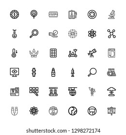 Editable 36 science icons for web and mobile. Set of science included icons line Blackboard, Medicine, Geography, Transhumanism, Physics, Magnet, Nuclear, Scientist on white background