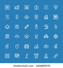 Editable 36 security icons for web and mobile. Set of security included icons line Link, Password, Atm, Reflector, Firewall, Safe deposit, Virus, Exit, Swiss army knife on blue background