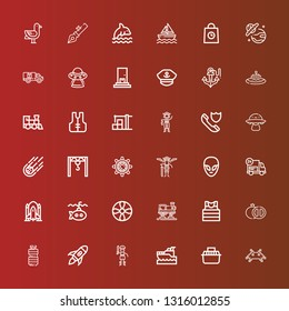 Editable 36 ship icons for web and mobile. Set of ship included icons line Invader, Transport, Yatch, Pirate, Rocket launch, Oil, Grenade, Sailor, Train, Propeller, Submarine on red