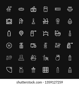 Editable 36 shower icons for web and mobile. Set of shower included icons line Sauna, Water, Blanket, Shower, Spray, Room service, Bath, Soap, Doorman, Shampoo on black background