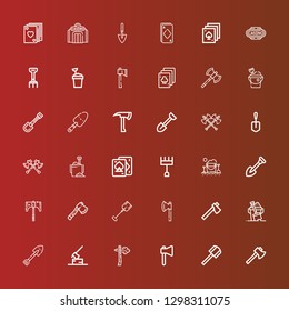 Editable 36 spade icons for web and mobile. Set of spade included icons line Axe, Shovel, Sand, Sand bucket, Rake, Playing cards, Axes, Casino, Poker, Ace on red