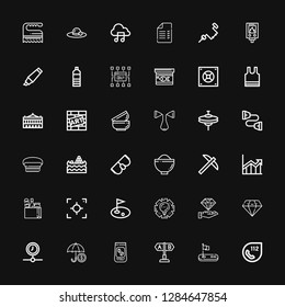Editable 36 stroke icons for web and mobile. Set of stroke included icons line , Golf, Test, Coffee beans, Insurance, Processing, Diamond, Management, Focus on black background