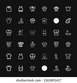 Editable 36 tee icons for web and mobile. Set of tee included icons line Golf, Golfer, Shirt, Sleeveless, Tshirt, Sleeveless shirt on black background