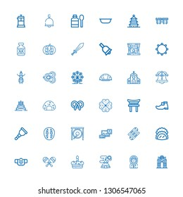 Editable 36 traditional icons for web and mobile. Set of traditional included icons line India gate, Eskimo, Indian tent, Cake, Maracas, Mask, Taco, Nunchaku on white background