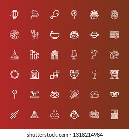 Editable 36 traditional icons for web and mobile. Set of traditional included icons line Bookcase, Sushi, Indian, Pie, Birthday cake, Sai, Mask, Onigiri, Guiro, Bitterballen on red