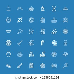 Editable 36 traditional icons for web and mobile. Set of traditional included icons line Lollipop, Shogun, Dharma wheel, Postbox, Chopsticks, Zongzi, Cake, Quesadilla on blue background