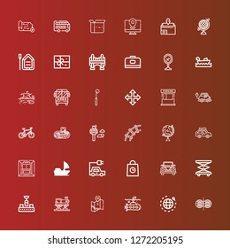 Editable 36 transport icons for web and mobile. Set of transport included icons line Parallel world, World, Submarine, Map, Train, Conveyor, Elevator, Wedding car, Delivery on red