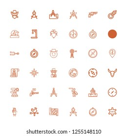 Editable 36 west icons for web and mobile. Set of west included icons line Sheriff, Compass, Vane, Cowgirl, Cardinal points, Lasso, Pistol, Indian tent, Bull skull on white background