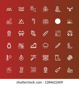 Editable 36 winter icons for web and mobile. Set of winter included icons line Christmas tree, Thermometer, Eskimo, Mountain, Boot, Cableway, Skii, Boots, Ski, Blower, Bauble on red