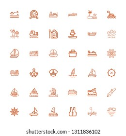 Editable 36 yacht icons for web and mobile. Set of yacht included icons line Sea, Boat, Lifejacket, Windsurf, Ship wheel, Anchor, Yatch, Cruise, Windsurfing on white background