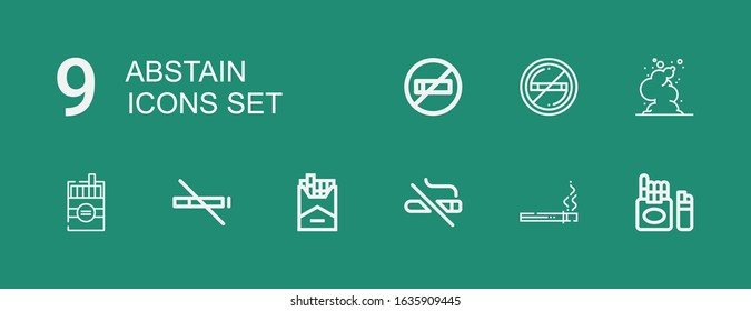 Editable 9 abstain icons for web and mobile. Set of abstain included icons line Cigarette, No smoking, No smoke, Smoke on green background