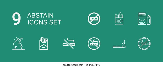 Editable 9 abstain icons for web and mobile. Set of abstain included icons line Smoking, Cigarette, No smoking, Smoke on green background