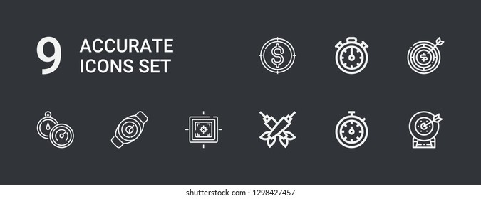 Editable 9 accurate icons for web and mobile. Set of accurate included icons line Target, Stopwatch, Darts, Watch, Stopclock on dark background